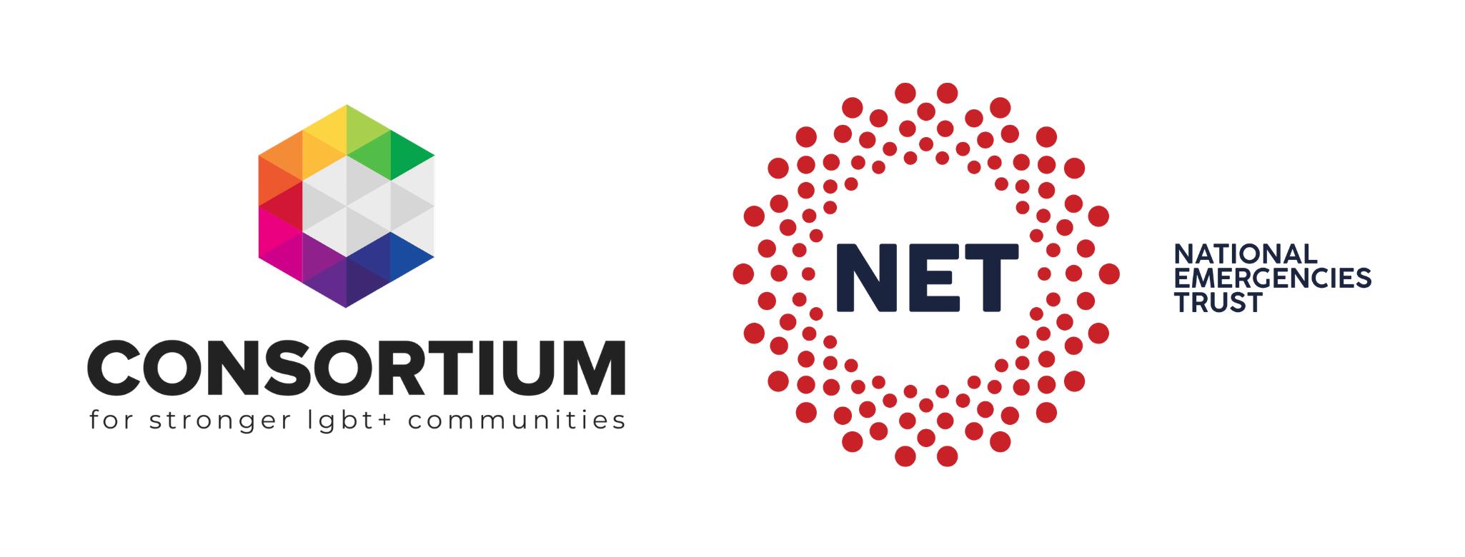 Consortium logo and National Emergencies Trust logo.